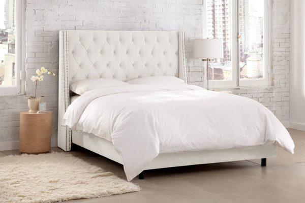 Arthur beyaz kumaş yatak modelleri