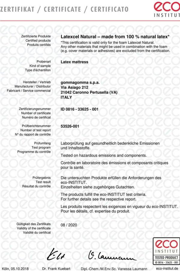 Doğal lateks yatak sertifikası