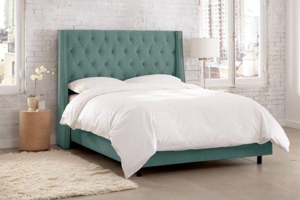Yeşil kumaş karyola yatak modelleri