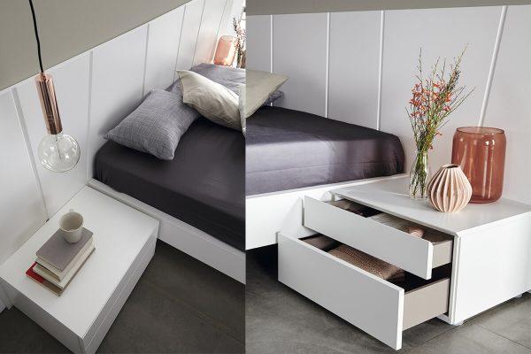 Nuvola beyaz komodinli yatak